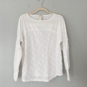 Sundance White Texture Knit Long Sleeve Top - M